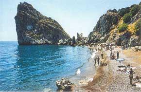 Симеизский пляж и скала Дива