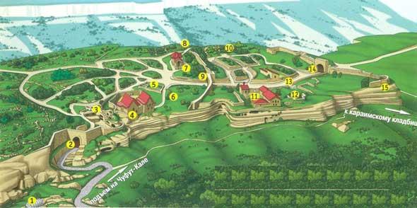 карта Чуфут-Кале