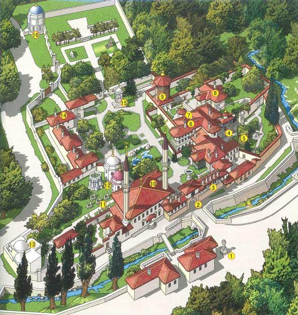 карта ханского дворца в Бахчисарае
